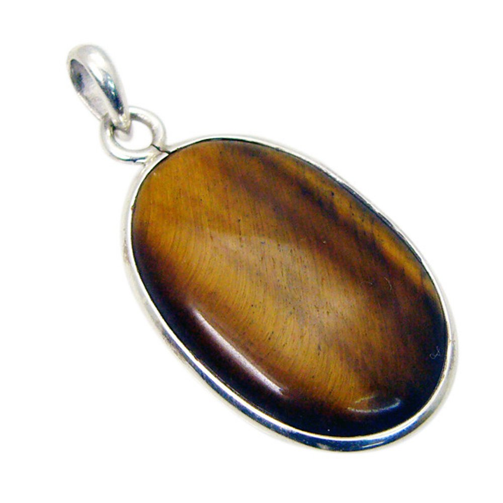 Gemsonclick Genuine Tiger Eye Silver for Women Pendant Sterling Charms Chakra Healing Oval Shape Necklace
