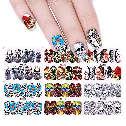 12 Patterns Halloween Skull Flower Manicure Nail Art Transfer Sticker Manicure Water Decal DIY Decoration -