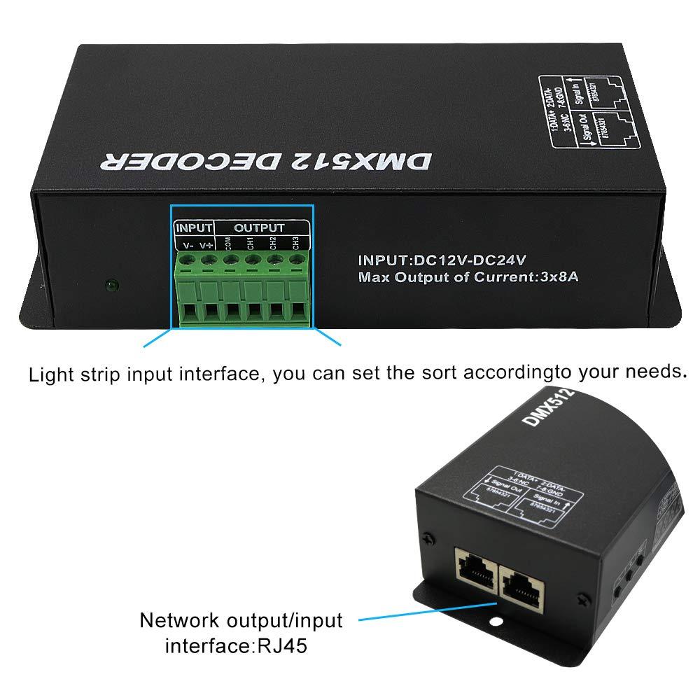 High Power 3 Channel 8A//CH Dmx Led Controller Led DMX 512 Decoder Dimmer Driver DC12V-24V for led rgb strip or lights