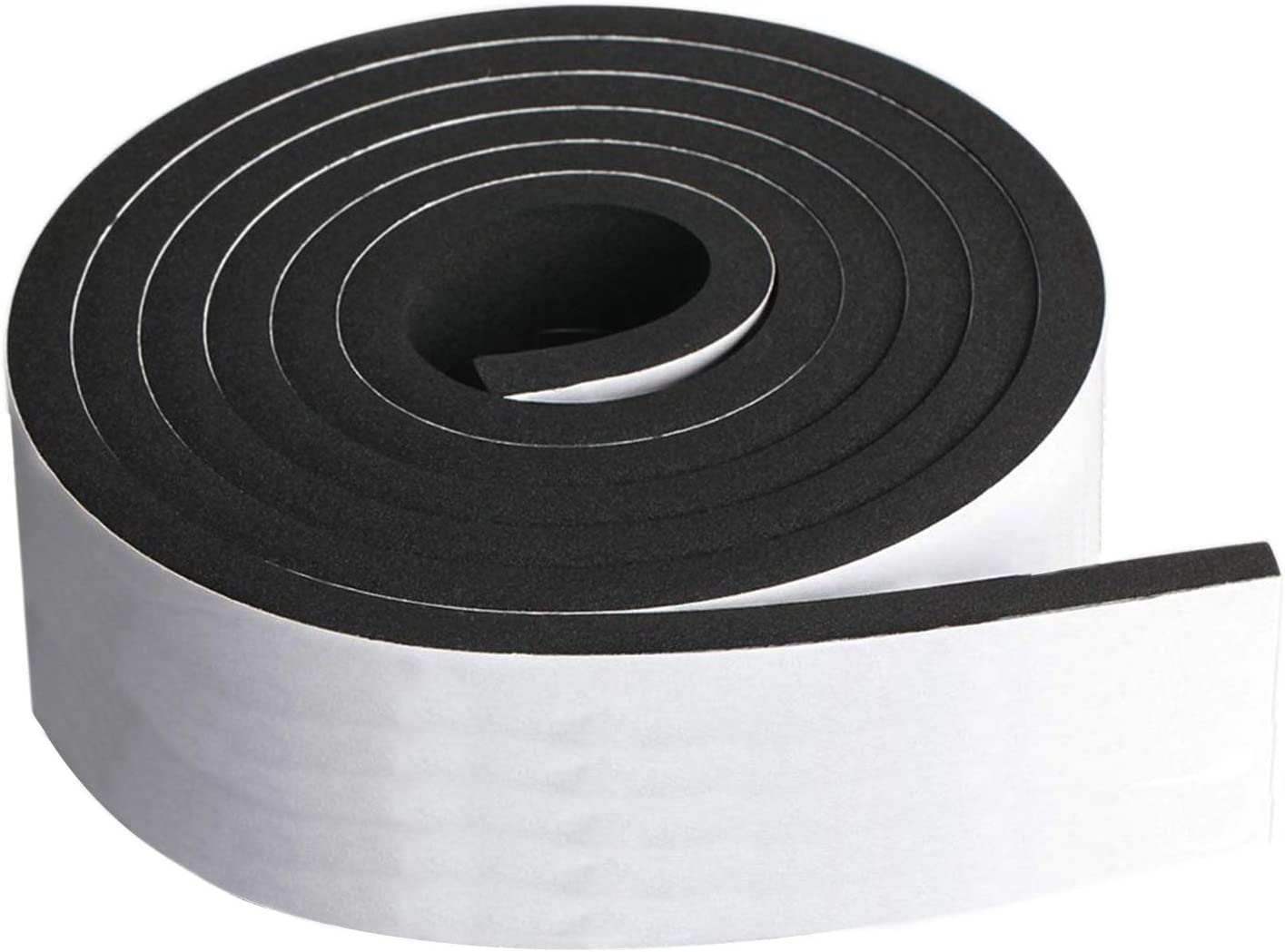 """Neoprene Foam Strip Roll by Dualplex, 3"""" Wide x 10' Long 1/4"""" Thick, Weather Seal High Density Stripping with Adhesive Backing – Weather Strip Roll Insulation Foam Strips"""
