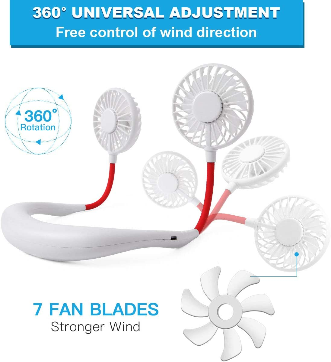Tikduck Neck Portable Sports Fans Hand Free Mini USB Rechargeable Desk Fan Headphone Design Wearable Small Personal Table Travel Office Room Household Cooling Folding Electric Airflow (White): Kitchen & Dining