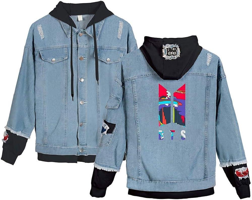 ZIGJOY Unisex BTS Hoodie Jeans Jacket Hoodie Suga Jim Jimi V Jungkook J Hope Pullover Hooded Sweater for Fans