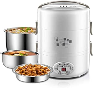 DALUXE Three Layers Electric Lunch Box, Portable Multi-Function Stainless Steel Artifact Plug-in Rice Mini Cooker Cooking, Heat Preservation