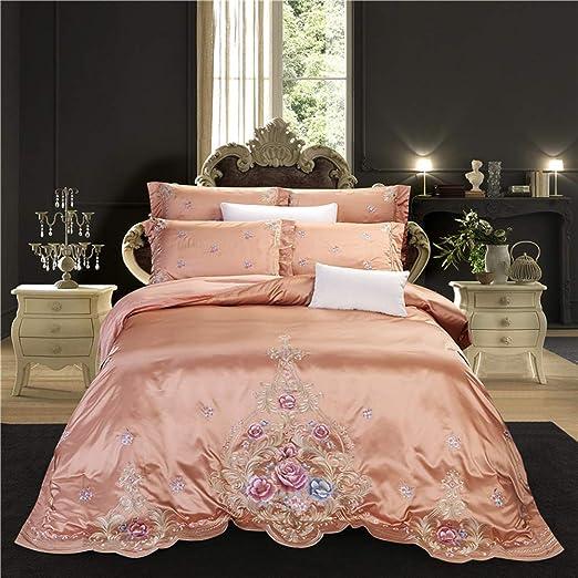 Bed set Algodón Egipcio Flores Bordado Palacio del lecho de Funda ...