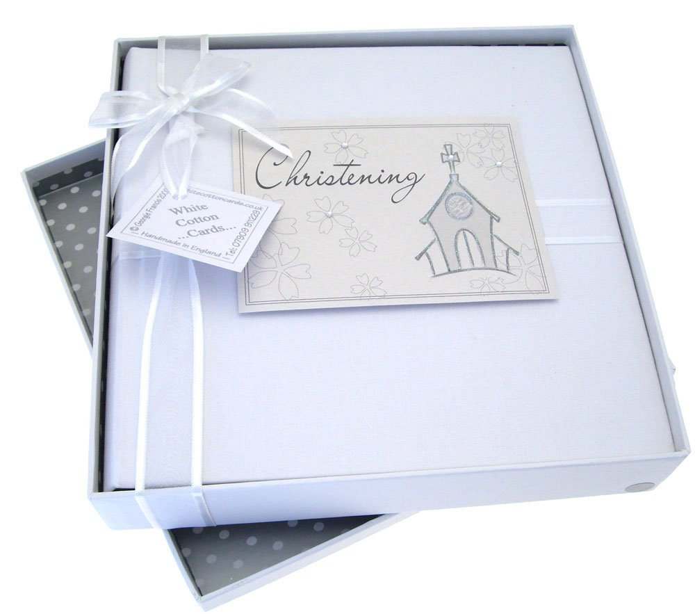 White Cotton Cards Album photo pour baptême Taille M CCH1M