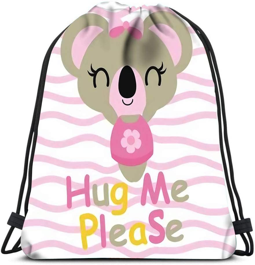 Drawstring Backpack Cute Baby Koala Needs Hug Cartoon For Shower Card Design Kid Laundry Bag Gym Yoga Bag
