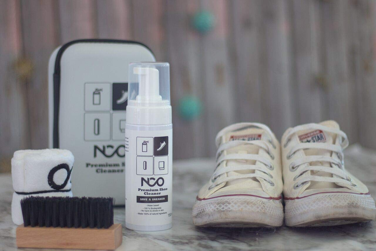 Premium Shoe Sneaker Cleaner Kit 150 ML Bottle Natural Foam Solution Set with Brush and Microfiber Towel Cloth Water Based Formula All in One Portable Kit by NCO (Image #4)
