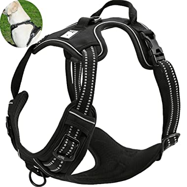 OLizee New No Pull Dog Harness Outdoor Adventure 3M Reflective Pet Vest with Handle Adjustable Protective Nylon Walking Pet Harness Variety of Sizes and Colors