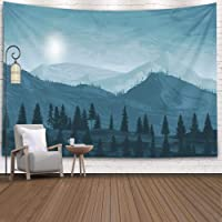 Jesmacti Tapestry Room Decor Gray Wall Tapestry Japanese Watercolor Canadian Wilderness Mountains Digital Art Handmade…