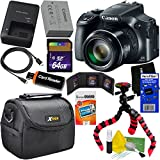 Canon Powershot SX60 HS 16.1MP Digital Camera 65x Optical Zoom with tilt LCD screen, Wi-Fi & NFC Enabled (Black) International Version + 11pc 64GB Accessory Kit w/HeroFiber Gentle Cleaning Cloth