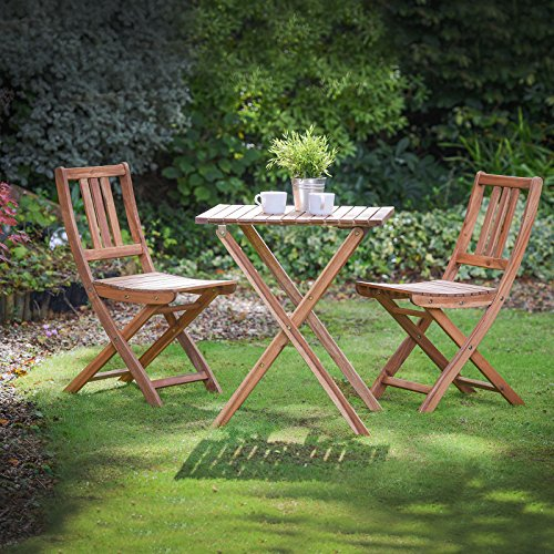 Plant Theatre Folding Hardwood Bistro Set, Garden Patio Table & Chairs - Superb Quality (Bistro Garden Chairs)