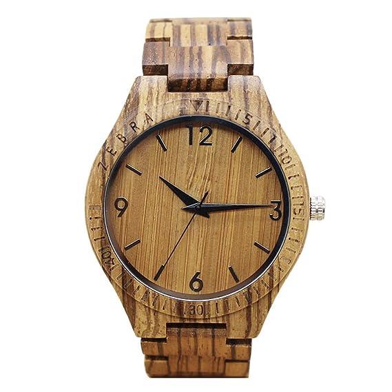 Relojes de madera hombre - Dxlta Moda cebra Reloj de pulsera, Correa de madera Casual