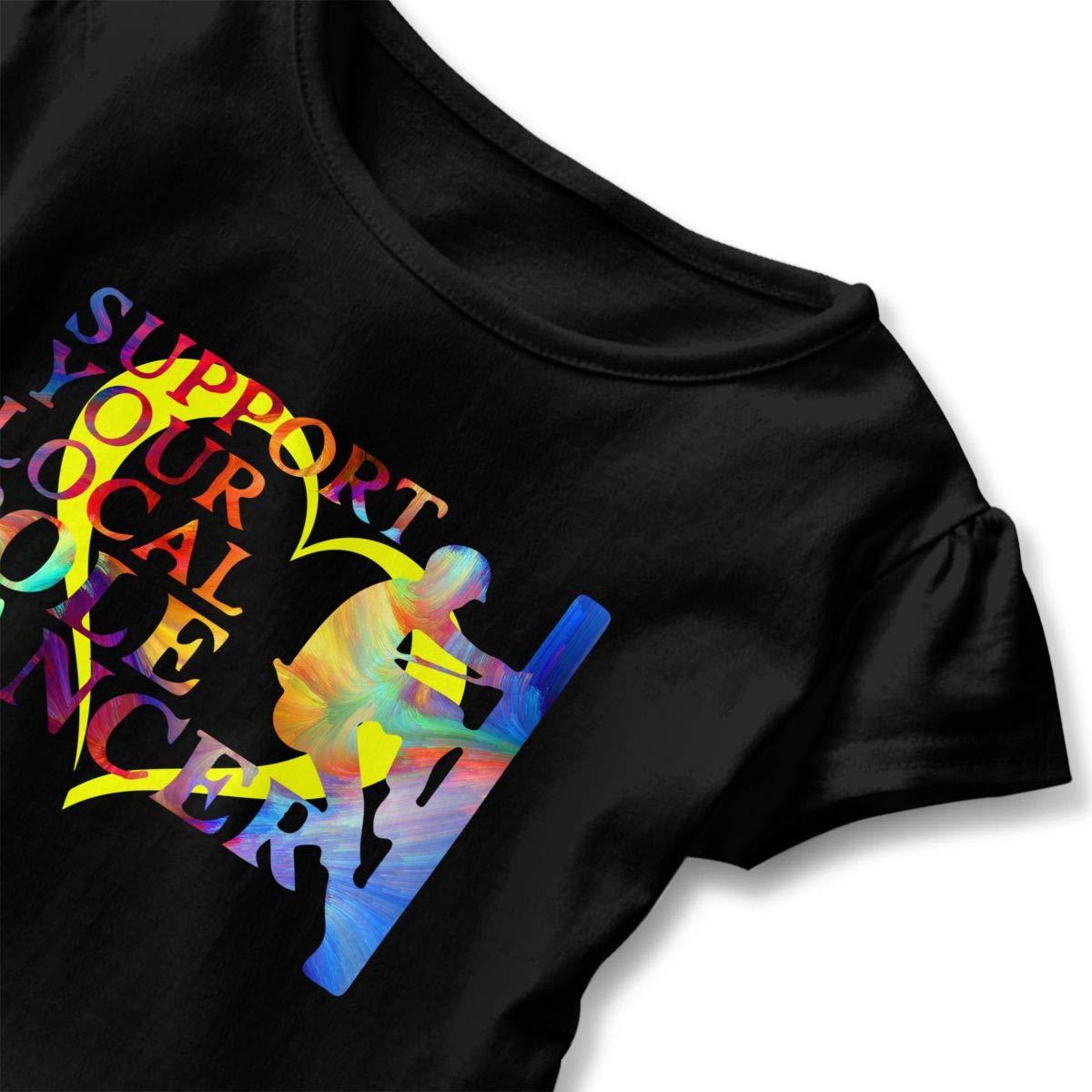 CZnuen Support Your Local Pole Dancer Lineman Baby Girls Round Neck Short Sleeve Ruffle T-Shirt Top