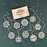 """Personalized SNOWFLAKE ORNAMENTS Set of 10 // 4"""" Inches Wood Christmas Tree Decor - Engraved Christmas Ornaments - Laser Cut Christmas Ornaments"""