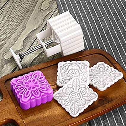 2f2139428 Buy Petsdelite® 150 Grams Square Flower Moon Cake Mold Chinese Traditional  Festival Hand Press Mooncake Mould Plastic Baking Pastry Cake Tools Online  at Low ...
