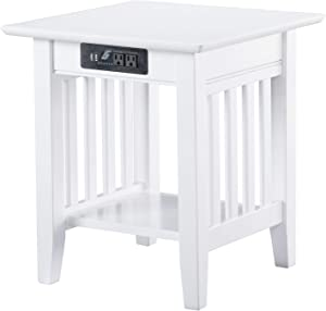 Atlantic Furniture AH14212 Mission End Table with Charging Station, White
