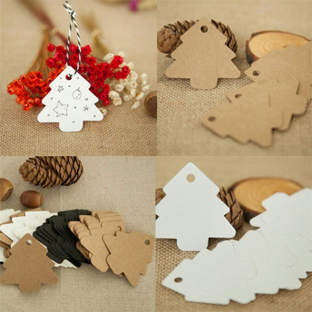 kraftpapier Sevenfly 50 St/ücke Weihnachtsbaum Tags Kraftpapier H/ängen Ornament Geschenkanh/änger Paketanh/änger Gep/äckanh/änger Mit Anh/änger Aufkleber