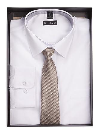 cd87dedf04ca Pierre Roche Mens Single Cuff Formal Work Shirt & Tie Box Set in 6 Colours 2