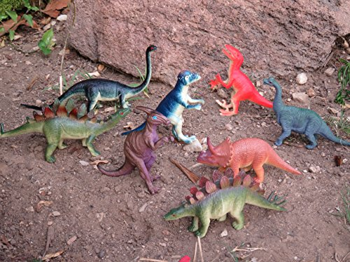 Educational Dinosaur Toys 8 pack - 6''- 9'' realistic toy dinosaur figures for cool kids and toddler education! Great gift set and party favors! by Wonders-Shop