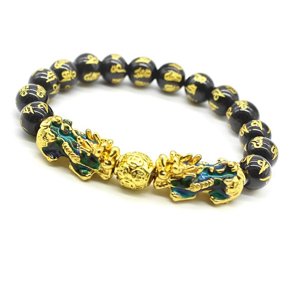Feng Shui Porsperity 10mm Hand Carved Mantra Bead Bracelet with Double Color Changed Pi Xiu/Pi Yao Attract Wealth and Good Luck by MANRUO