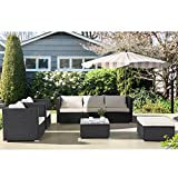 GTM 7PC Outdoor Furniture Rattan Wicker Patio Sectional Sofa Set with Cushions,Black