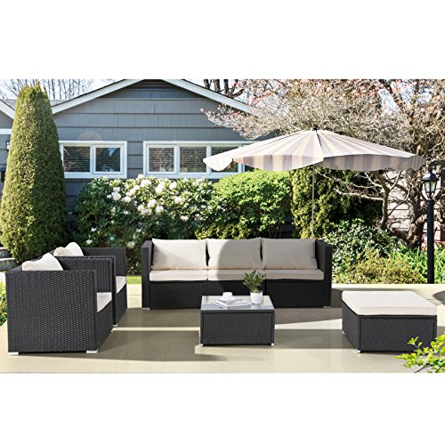GTM 7PC Outdoor Furniture Rattan Wicker Patio Sectional Sofa Set with Cushions,Black by GTM