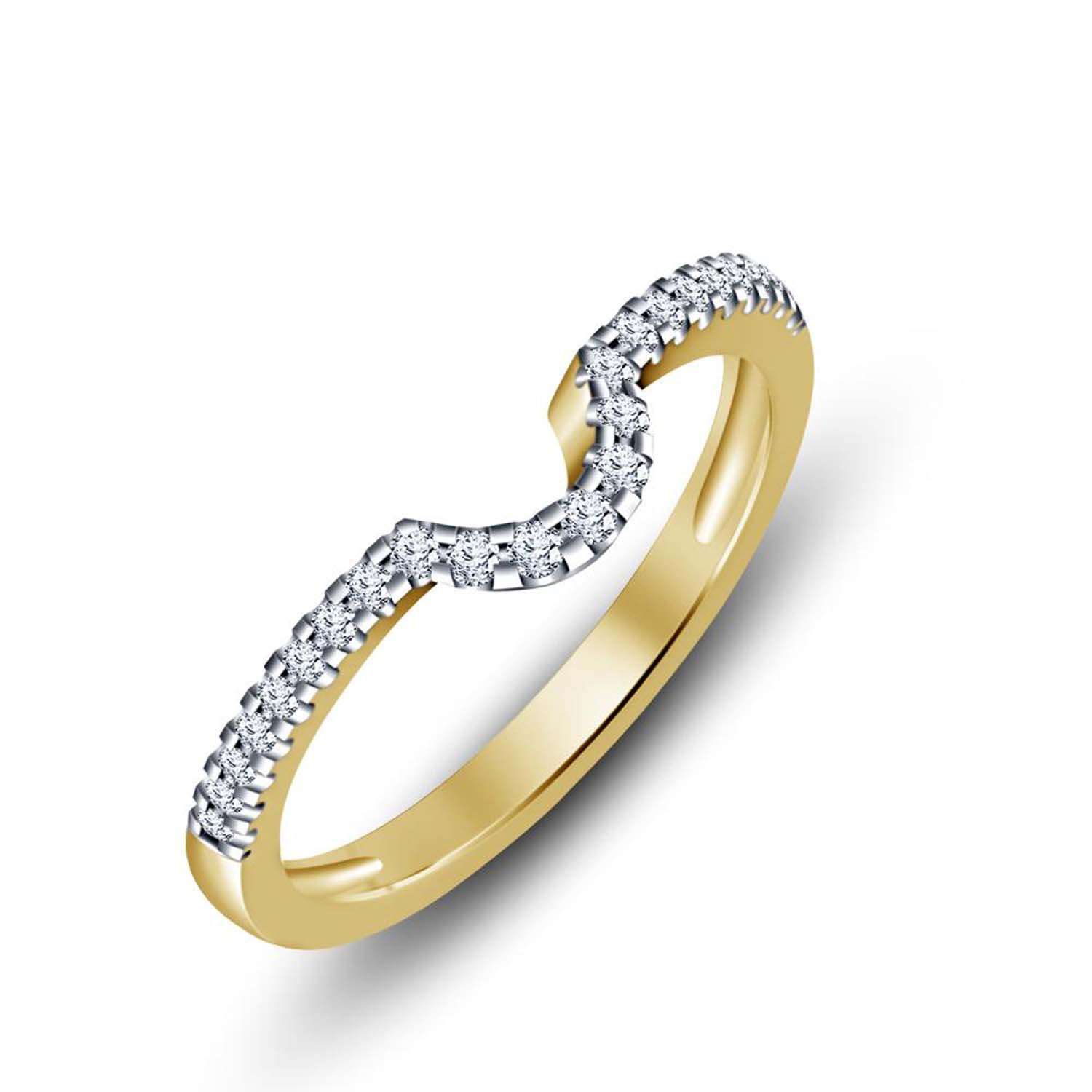 Gems and Jewels 14K Yellow Gold Plating Simulated Diamonds Anniversary Promise Classic Look Band Ring Engagement /& Wedding Ring