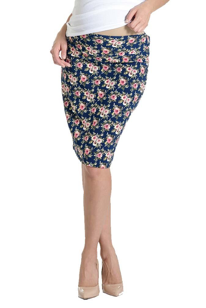 Lilac Pencil Maternity Skirt - Floral - Navy Floral Print - Small
