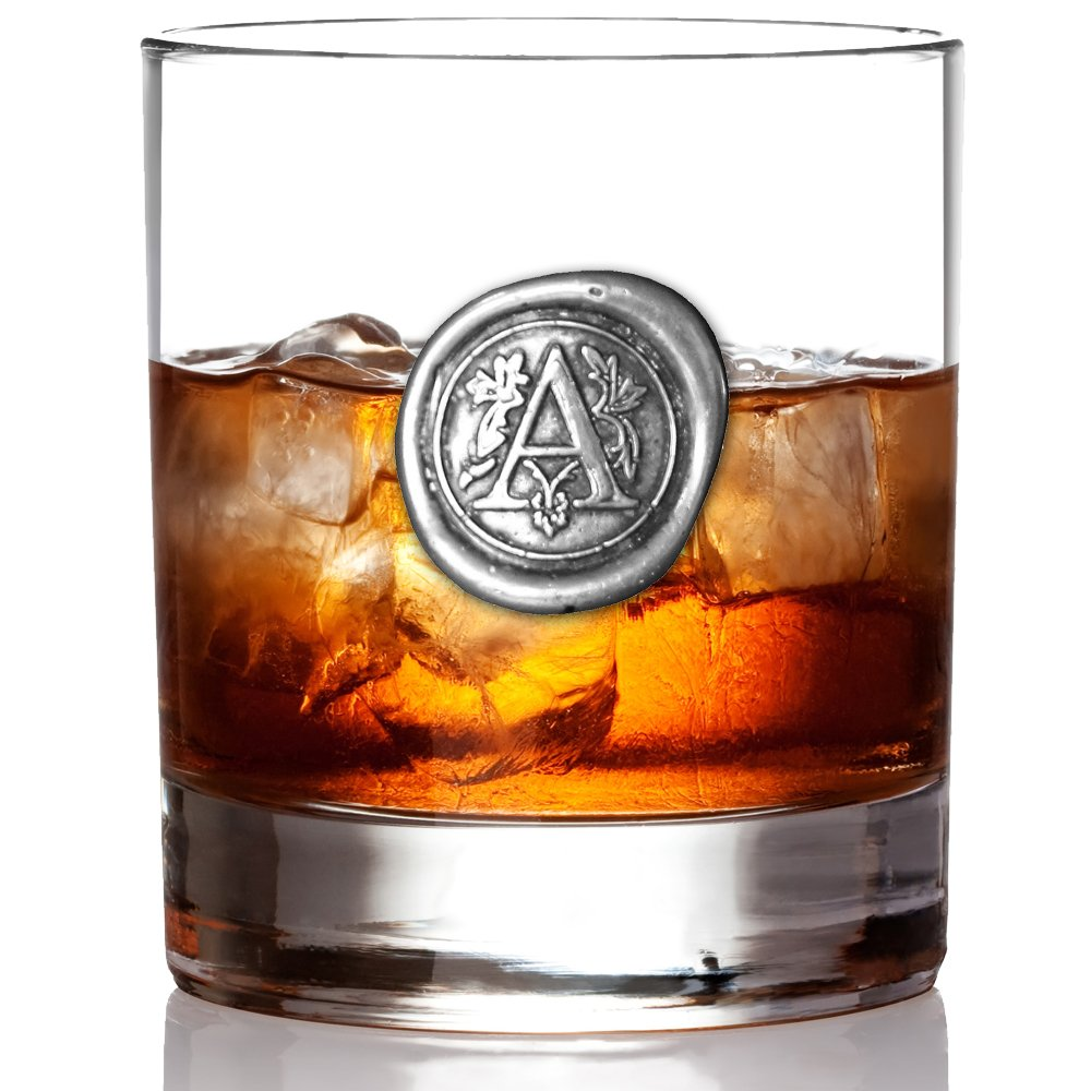 English Pewter Company 11oz Whisky Glass Tumbler with Monogram Initial - Personalised Gift with Your Choice of Initial (S) [MON119]