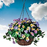 Artificial Fake Pansy Hanging Willow Basket
