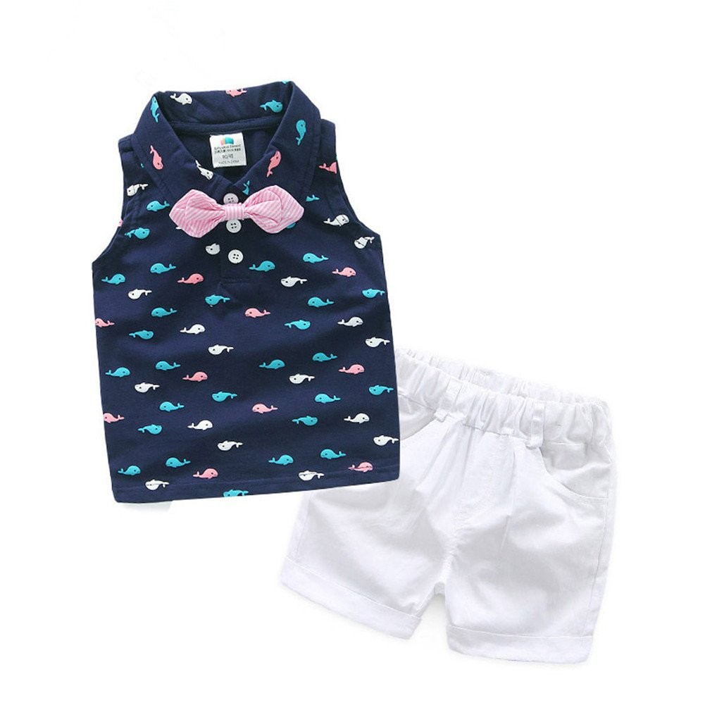 Mud Kingdom Colorful Whale Sleeveless Polo Shirt and Short Boys Summer Outfit