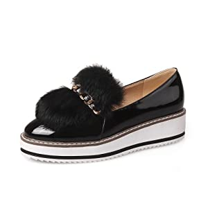 WeiPoot Women's Patent Leather Round Closed Toe Kitten-Heels Pull-on Solid Pumps-Shoes, Black, 37