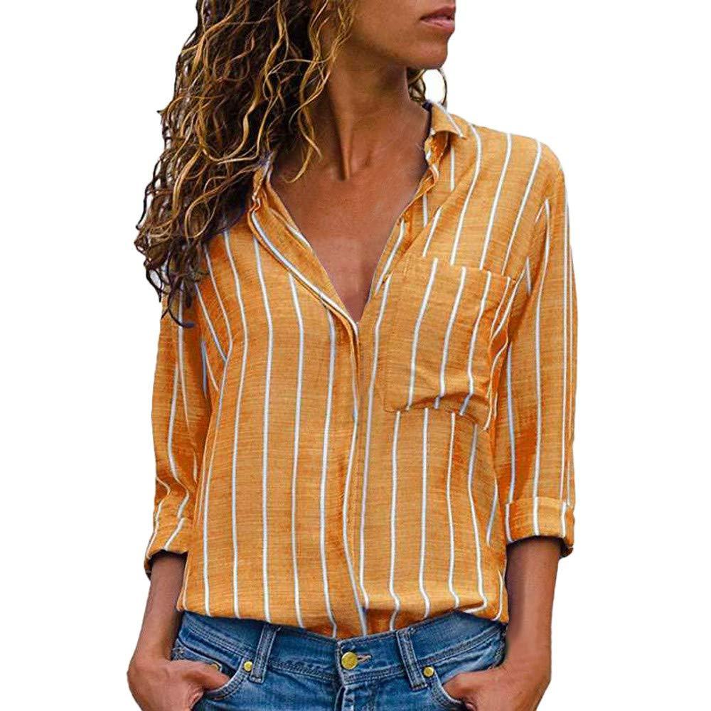 Blusas Mujer De Rayas de Mujer, PANY Mujer Rayas Casuales Camisa de Manga Larga Estampada Blusa con Botones: Amazon.es: Ropa y accesorios