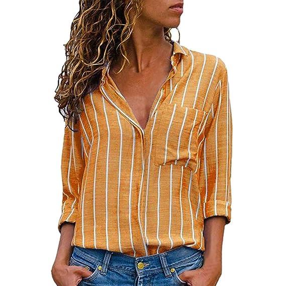 Blusas Mujer De Rayas de Mujer,PANY Mujer Rayas Casuales Camisa de Manga Larga Estampada Blusa con Botones: Amazon.es: Ropa y accesorios
