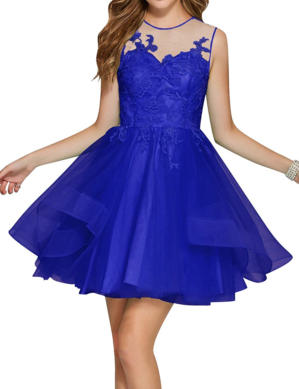 Royal bluee Uther Junior Tulle Prom Homecoming Cocktail Dresses Short Scoop Neck Bridesmaid Dress