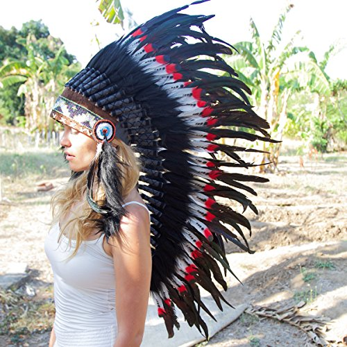 Novum Crafts Feather Headdress | Native American Indian Inspired | Red Tips (Hat Balinese)