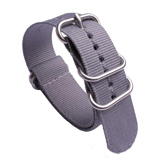 Correas de Reloj - Sólido Longitud de la OTAN gris de nylon Correas de reloj del reemplazo y de 18 mm de ancho: Amazon.es: Relojes