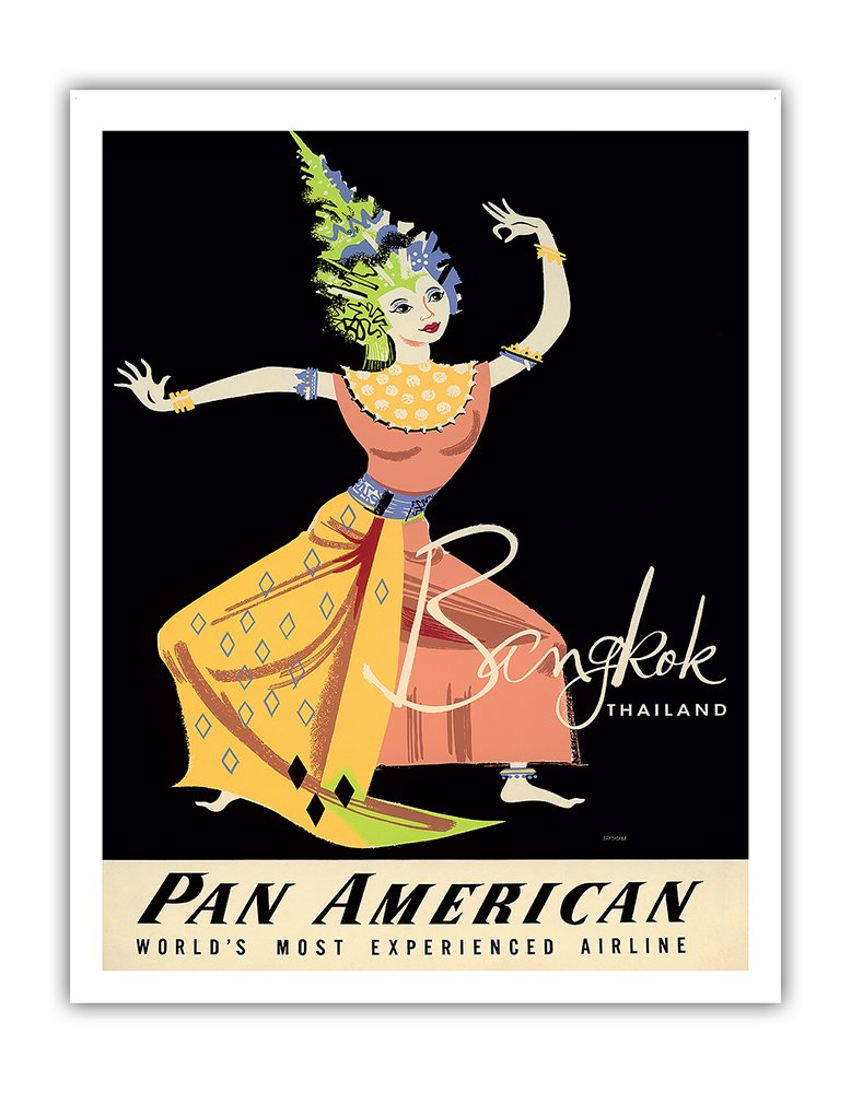 Bangkok, Thailand - Pan American Airlines (PAA) - Thai Woman Classical Dancer PAN AM - Vintage Airline Travel Poster by A. Amspoker c.1950s - Fine Art Print - 11in x 14in by Pacifica Island Art
