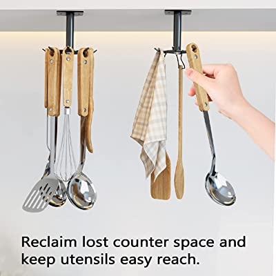 Buy 2 Pcs Utensil Holder Under Cabinet Rotatable Kitchen Lazy Susan Hooks For Cup Spoon Wall Mounted Utensil Hanger Rack With 6 Rotatable Hooks Online In Turkey B08t97ql7l