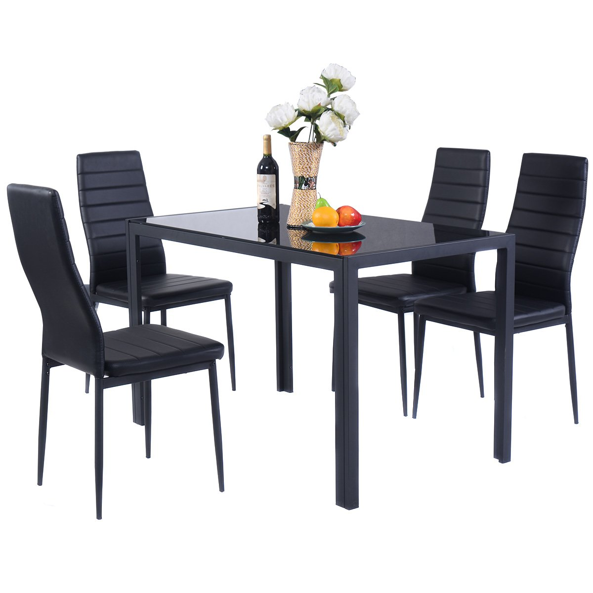 Giantex 5 Piece Kitchen Dining Table Set with Glass Table Top Leather Padded 4 Chairs and Metal Frame Table for Breakfast Dining Room Kitchen Furniture, Black HW52382+