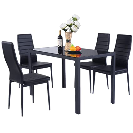 Giantex 5 Piece Kitchen Dining Set Glass Metal Table and 4 Chairs Breakfast Furniture  sc 1 st  Amazon.com : breakfast set table and chairs - pezcame.com