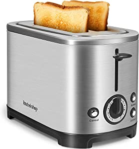 2 Slice Toaster Retro Stainless Steel Toaster, 7 Shade Settings and Double Side Baking, Bread Toaster with Removable Crumb Tray, (Black)