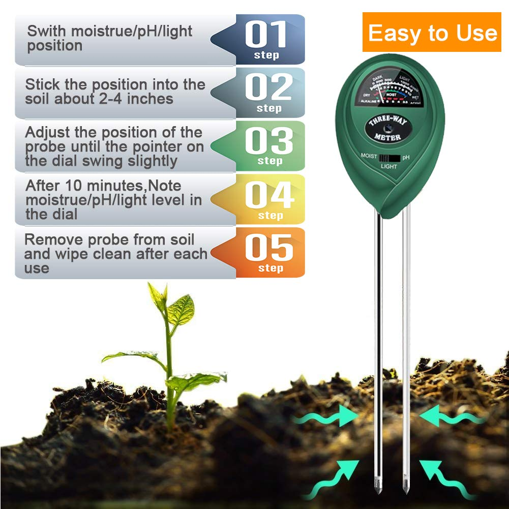 No Battery Need /& 2019 Update Soil Tester Vegetables Lawn Indoor//Outdoor Plant Care Soil Tester Green 3 in 1 Soil Test Kit for Moisture Light /& pH Meter for Plant Garden Farm