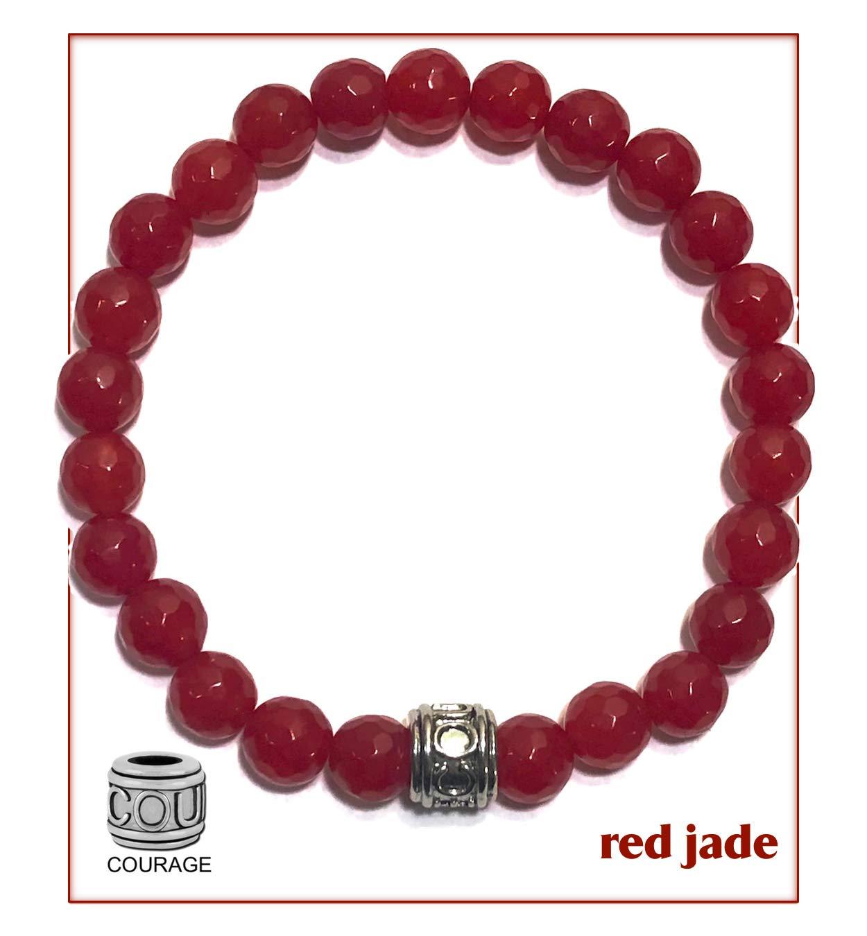 KarmaArm Mantra Bracelet | Natural Red Jade | Courage Bead | Good Luck Zen Meditation Mala Wristband | Yoga Reiki Healing Energy Boho Beaded Chakra Self-Care Wellness Jewelry & Gifts | Fearless (7.5)