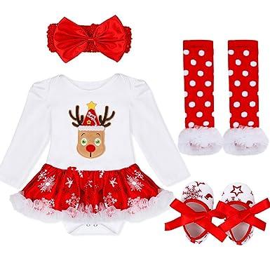 f26ebb5b1ee62 IEFIEL 4 pcs Tutu Costume Noël Bébé Fille Barboteuse avec Bandeau Jambières  Chaussures Déguisement Ensembles Enfant