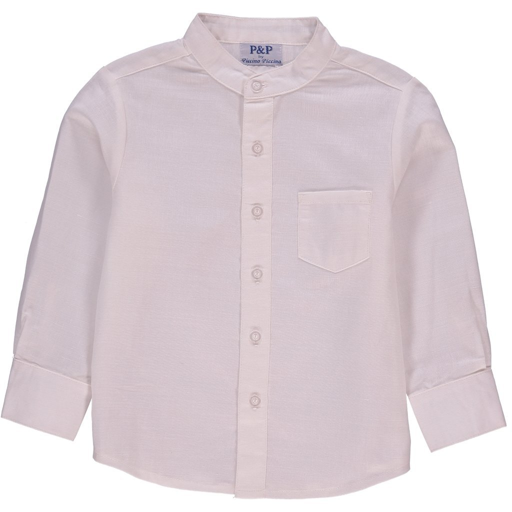 P P Baby Boy Spring Long Sleeve Button up Classic Cream Dress Shirt 7 Years