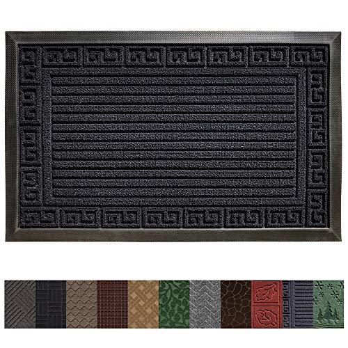 - Gorilla Grip Original Durable Rubber Door Mat (29 x 17) Heavy Duty Doormat, Indoor Outdoor, Waterproof, Easy Clean, Low-Profile Mats for High Traffic Areas (Dark Navy Blue: Greek Keys)