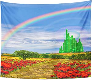 Emvency Tapestry Fields Musical the Yellow Brick Road Leading Into Emerald City in Land of Oz Poppy Rainbow Home Decor Wall Hanging for Living Room Bedroom Dorm 50x60 Inches