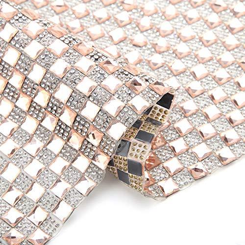 - 1010mm Glass Rhinestone Trim Crystal Beaded Applique Hotfix Iron On Strass Mesh Banding in Roll DIY Rhinestone Stickers Sheet Gift Phone Decoration (Tawney)
