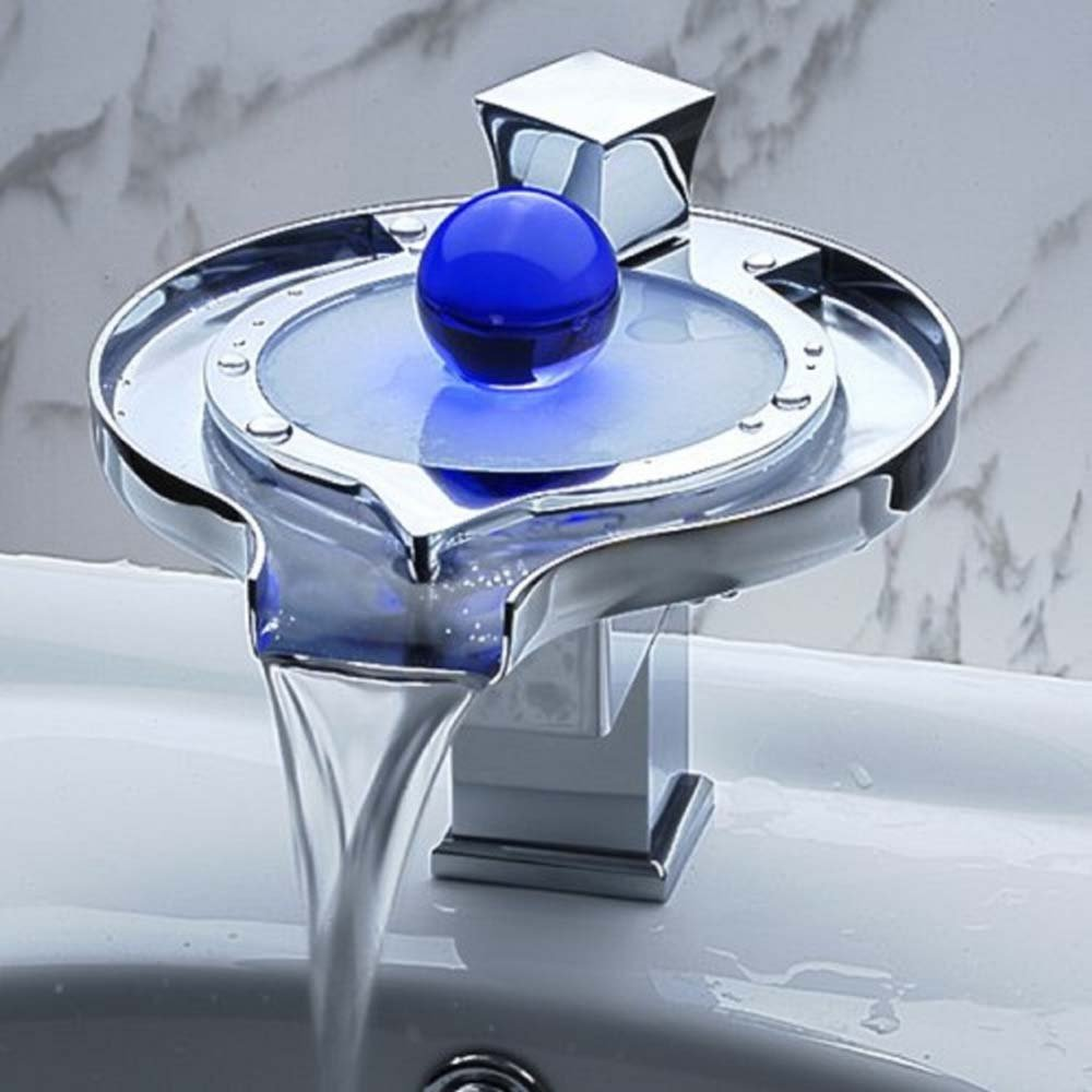 Polish Chrome Faucet Light Water Tap 3 Colors Temperature Controlled Bathroom Waterfall Sink Square Faucet torneira #Express Expedited Shipping 4-8 Days#
